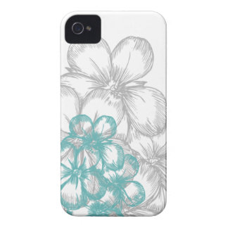 floral aqua gray Case-Mate iPhone 4 cases