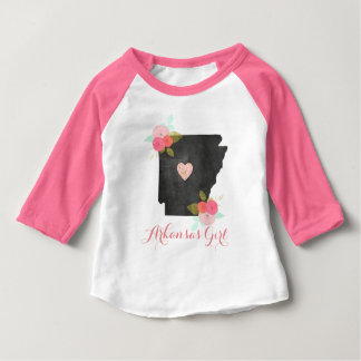 Floral Arkansas State & Moveable Heart Baby Girls Baby T-Shirt