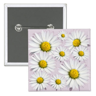 Floral arrangement of white and yellow daisies 15 cm square badge