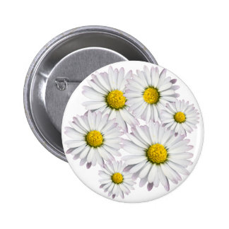 Floral arrangement of white and yellow daisies 6 cm round badge