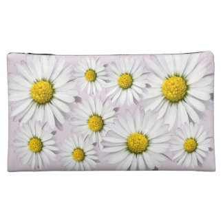 Floral arrangement of white and yellow daisies makeup bags