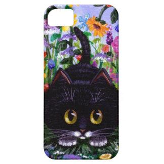 Floral Art Black Tuxedo Cat Flowers Creationarts iPhone 5 Case
