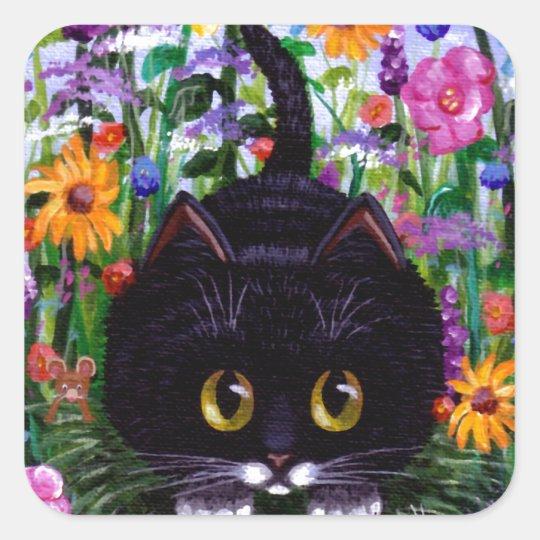 Floral Art Black Tuxedo Cat Flowers Creationarts Square Sticker