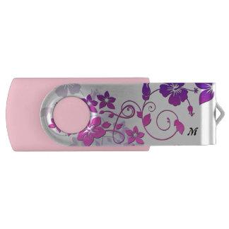 Floral Art Monogram Pink Swivel USB Flash Drive Swivel USB 2.0 Flash Drive