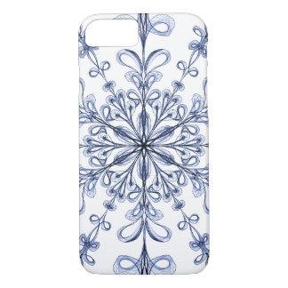 Floral Art Nouveau Cornflower Blue Design on White iPhone 7 Case