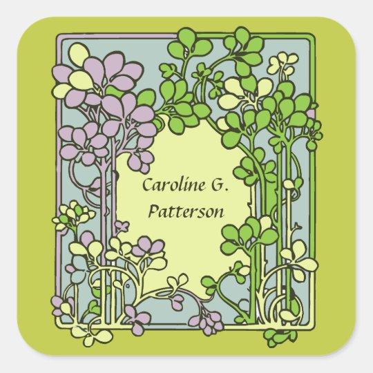 Floral Art Nouveau Ex-Libris Square Sticker