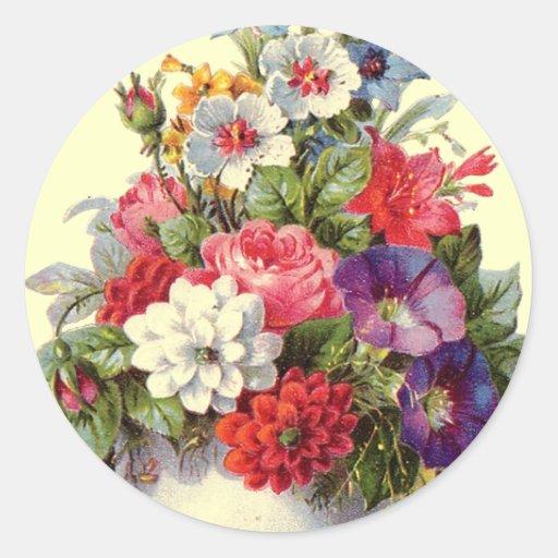 Floral Art Round Sticker