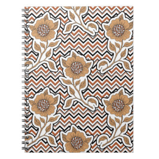 Floral artistic Notebook on Chevron background