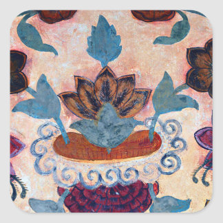 Floral Artwork at Amber Fort (1) Square Sticker
