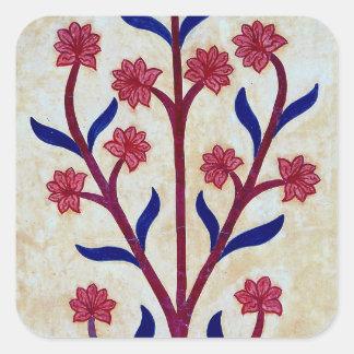 Floral Artwork at Amber Fort (2) Square Sticker