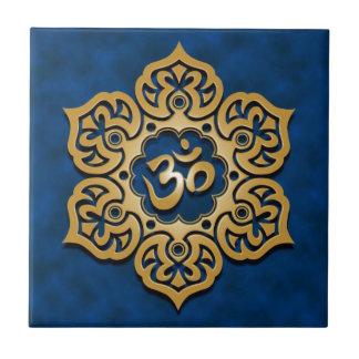 Floral Aum Design, golden blue Small Square Tile