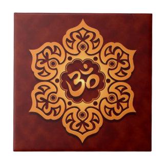 Floral Aum Design, golden red Small Square Tile
