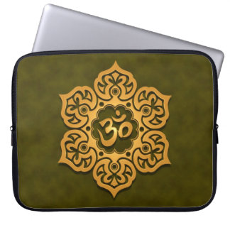 Floral Aum Design, green Laptop Computer Sleeve