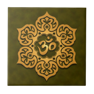 Floral Aum Design, green Small Square Tile