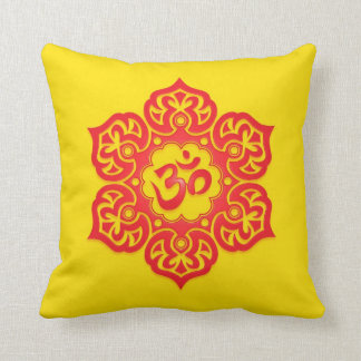 Floral Aum Design, red and yellow Cushion