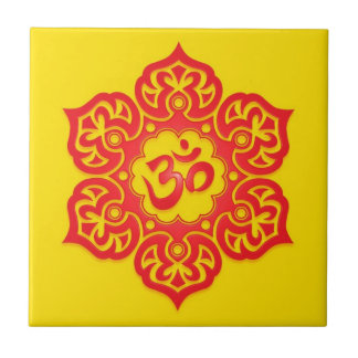 Floral Aum Design, red and yellow Small Square Tile