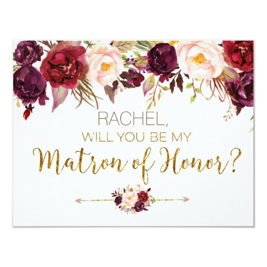 Floral Autumn Will You Be My Matron of