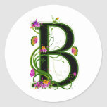 Floral B Round Stickers