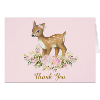 Floral Baby Deer Baby Shower Thank You Note Card