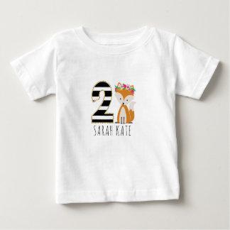 Floral Baby Fox Stripes Second Birthday Shirt