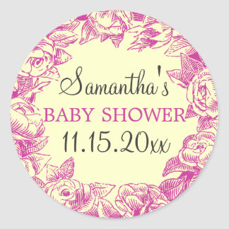 Floral Baby Shower Date Vintage Roses Pink Stickers
