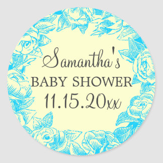 Floral Baby Shower Date Vintage Roses Turquoise Sticker