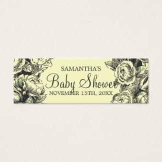 Floral Baby Shower Favor Tag Vintage Roses Black