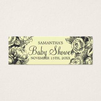 Floral Baby Shower Favor Tag Vintage Roses Black Mini Business Card