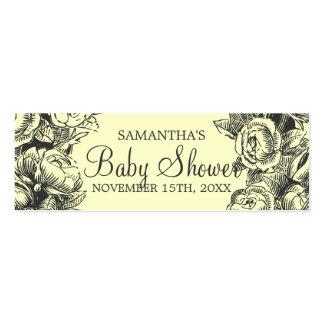 Floral Baby Shower Favor Tag Vintage Roses Black Pack Of Skinny Business Cards