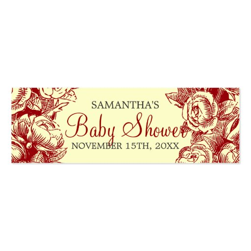 Floral Baby Shower Favor Tag Vintage Roses Red Business Card Template