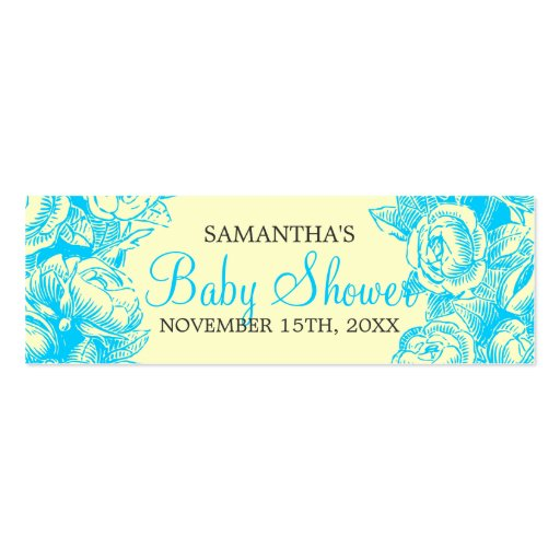 Floral Baby Shower Favor Tag Vintage Roses Turquoi Business Card Templates