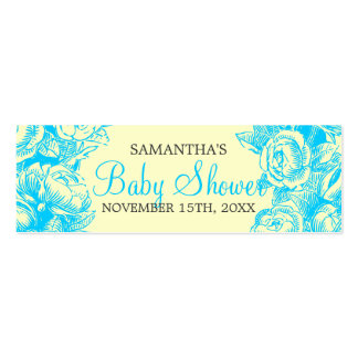 Floral Baby Shower Favor Tag Vintage Roses Turquoi Pack Of Skinny Business Cards