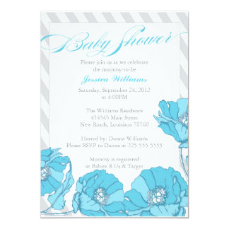 """Floral Baby Shower 5"""" X 7"""" Invitation Card"""