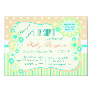 Floral Baby Shower Invitation with Pastel Stripes