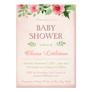 Floral Baby Shower Invitations - Floral Shower