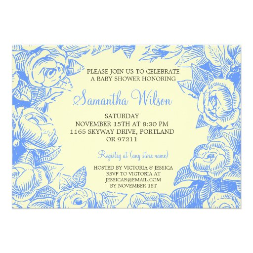 Floral Baby Shower Vintage Roses Blue Personalized Invitations