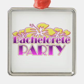 floral bachelorette party bridal shower wedding Silver-Colored square decoration