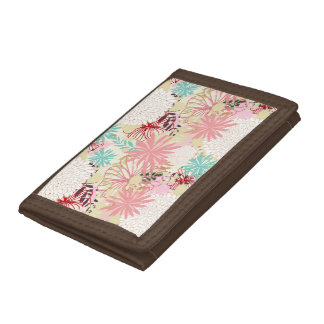 Floral background 4 tri-fold wallets