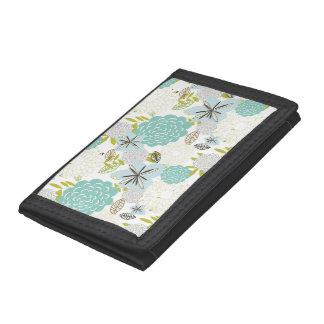 Floral background 5 trifold wallet