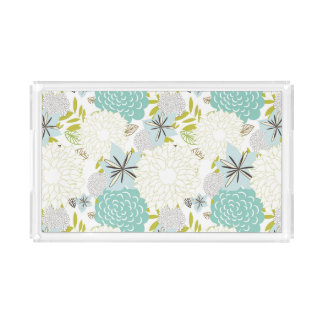 Floral background acrylic tray