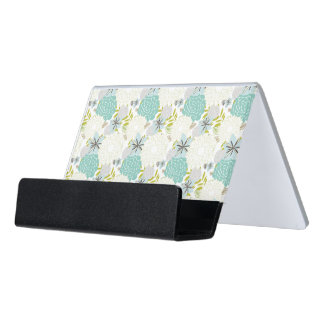Floral background desk business card holder