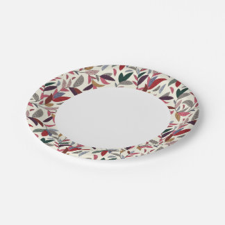 Floral background paper plate