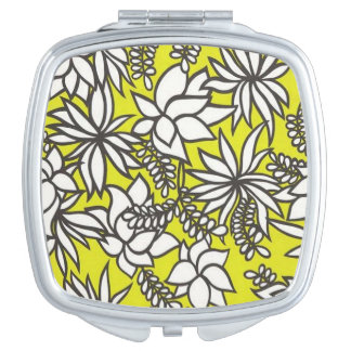 Floral background pattern mirror for makeup
