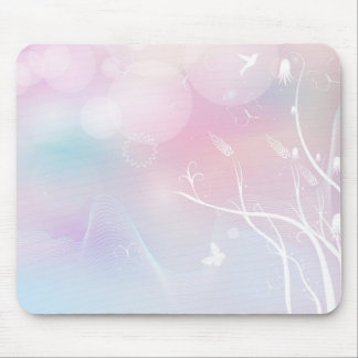 floral background with flowers, leaves, bird mouse mat