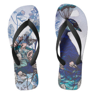 Floral Background with Peacocks Flip Flops