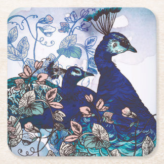 Floral Background with Peacocks Square Paper Coaster