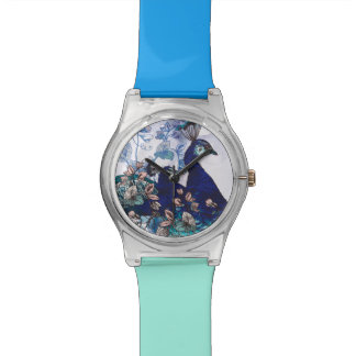 Floral Background with Peacocks Watch
