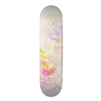 floral background with watercolor flowers 21.6 cm old school skateboard deck