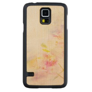 floral background with watercolor flowers carved maple galaxy s5 case