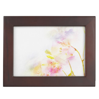 floral background with watercolor flowers keepsake box
